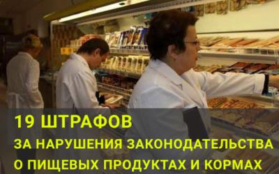 19 штрафівза порушення законодавства про харчові продукти та корми